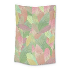 Watercolor Leaves Pattern Small Tapestry
