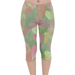 Watercolor Leaves Pattern Velvet Capri Leggings