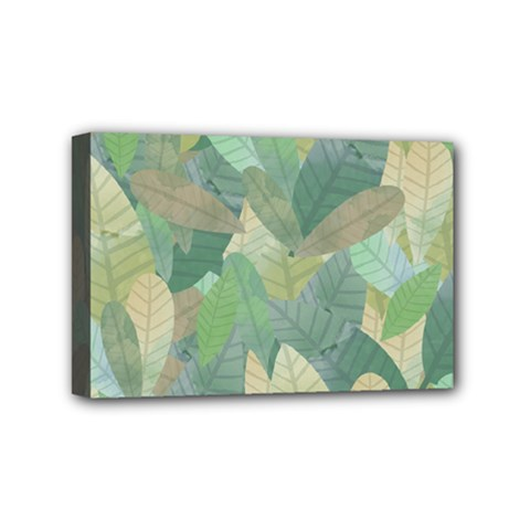 Watercolor Leaves Pattern Mini Canvas 6  X 4  (stretched)