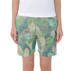 Watercolor Leaves Pattern Women s Basketball Shorts
