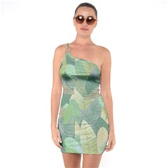 Watercolor Leaves Pattern One Soulder Bodycon Dress