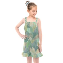 Watercolor Leaves Pattern Kids  Overall Dress