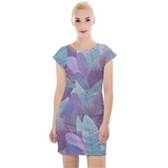 Watercolor Leaves Pattern Cap Sleeve Bodycon Dress