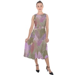 Watercolor Leaves Pattern Midi Tie Back Chiffon Dress by Valentinaart