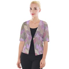 Watercolor Leaves Pattern Cropped Button Cardigan
