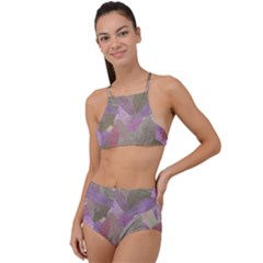 Watercolor Leaves Pattern High Waist Tankini Set by Valentinaart