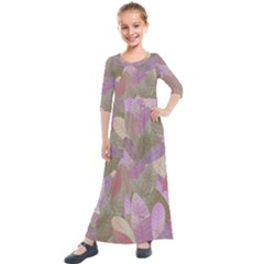 Watercolor Leaves Pattern Kids  Quarter Sleeve Maxi Dress