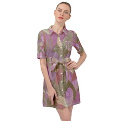 Watercolor Leaves Pattern Belted Shirt Dress