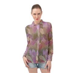 Watercolor Leaves Pattern Long Sleeve Chiffon Shirt by Valentinaart