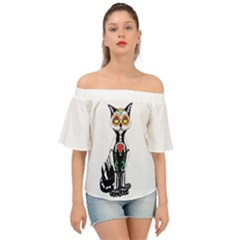 Sugar Skull Cat Off Shoulder Short Sleeve Top