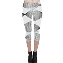 Something Twisted Black And White Lines Pattern Capri Leggings  by CrypticFragmentsColors