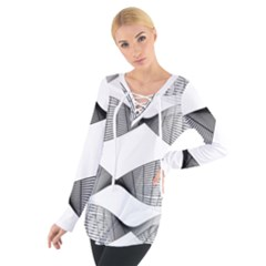 Something Twisted Black And White Lines Pattern Tie Up Tee