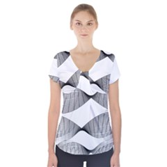 Something Twisted Black And White Lines Pattern Short Sleeve Front Detail Top by CrypticFragmentsColors
