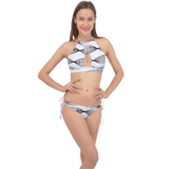 Something Twisted Black And White Lines Pattern Cross Front Halter Bikini Set by CrypticFragmentsColors