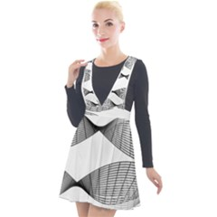 Something Twisted Black And White Lines Pattern Plunge Pinafore Velour Dress by CrypticFragmentsColors