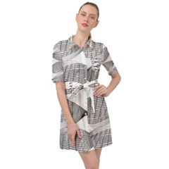 Something Twisted Black And White Lines Pattern Belted Shirt Dress by CrypticFragmentsColors