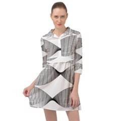 Something Twisted Black And White Lines Pattern Mini Skater Shirt Dress by CrypticFragmentsColors