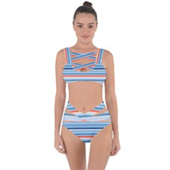 Blue And Coral Stripe 2 Bandaged Up Bikini Set  by dressshop