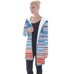 Blue And Coral Stripe 2 Longline Hooded Cardigan