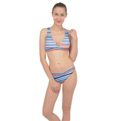 Blue And Coral Stripe 2 Classic Banded Bikini Set  by dressshop