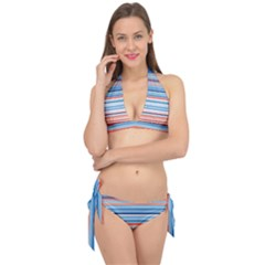 Blue And Coral Stripe 2 Tie It Up Bikini Set by dressshop