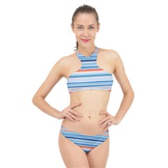 Blue And Coral Stripe 2 High Neck Bikini Set
