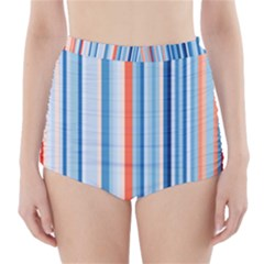 Blue And Coral Stripe 1 High-waisted Bikini Bottoms by dressshop