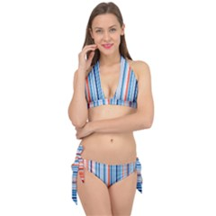 Blue And Coral Stripe 1 Tie It Up Bikini Set by dressshop