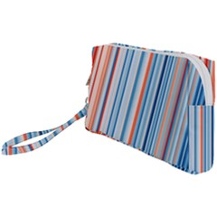 Blue And Coral Stripe 1 Wristlet Pouch Bag (small)
