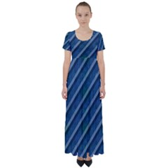 Blue Stripped Pattern High Waist Short Sleeve Maxi Dress