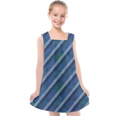 Blue Stripped Pattern Kids  Cross Back Dress by designsbyamerianna
