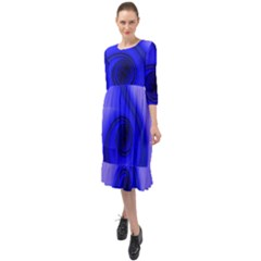 Blue Spiral Musical Note Ruffle End Midi Chiffon Dress by CrypticFragmentsDesign