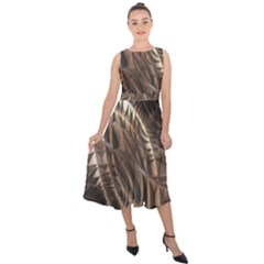 Copper Canyon Metallic Abstract Art Midi Tie-back Chiffon Dress