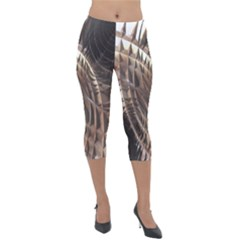 Copper Canyon Metallic Abstract Art Lightweight Velour Capri Leggings