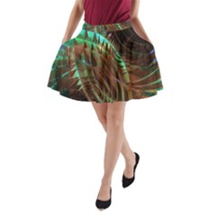 Copper Patina Metallic Abstract Art A Line Pocket Skirt by CrypticFragmentsDesign