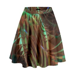 Copper Patina Metallic Abstract Art High Waist Skirt by CrypticFragmentsDesign