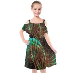 Copper Patina Metallic Abstract Art Kids  Cut Out Shoulders Chiffon Dress by CrypticFragmentsDesign