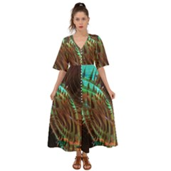 Copper Patina Metallic Abstract Art Kimono Sleeve Boho Dress