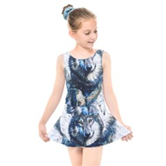 Gray Wolf   Forest King Kids  Skater Dress Swimsuit by kot737