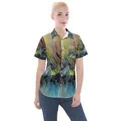 Original Abstract Art Women s Short Sleeve Pocket Shirt