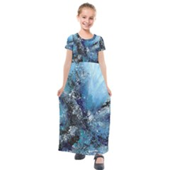Original Abstract Art Kids  Short Sleeve Maxi Dress by scharamo