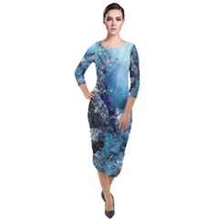 Original Abstract Art Quarter Sleeve Midi Velour Bodycon Dress by scharamo