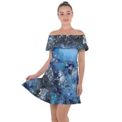 Original Abstract Art Off Shoulder Velour Dress by scharamo