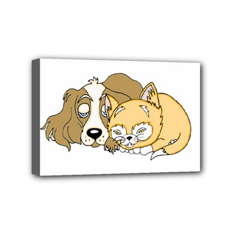 Dog And Kitten Nap Mini Canvas 6  X 4  (framed) by retrotoomoderndesigns