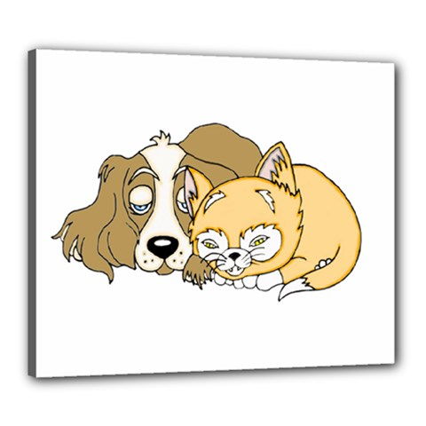Dog And Kitten Nap Canvas 24  X 20  (framed) by retrotoomoderndesigns