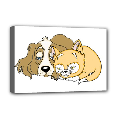 Dog And Kitten Nap Deluxe Canvas 18  X 12  (framed) by retrotoomoderndesigns