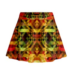 Mosaic Structure Grain Mode Mini Flare Skirt by Pakrebo