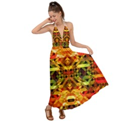 Mosaic Structure Grain Mode Backless Maxi Beach Dress