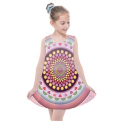 Mandala Zentangle Floral Round Kids  Summer Dress