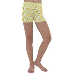 Fruits Template Lemons Yellow Kids  Lightweight Velour Yoga Shorts by Pakrebo